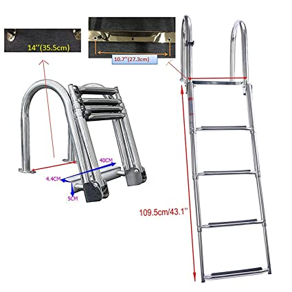 DasMarine 4 Step Pontoon Boat Ladder, Stainless Steel Folding Telescoping  Rear Entry Inboard Ladder Heavy Duty Custom Swim Deck Ladder with Pedal  Hand