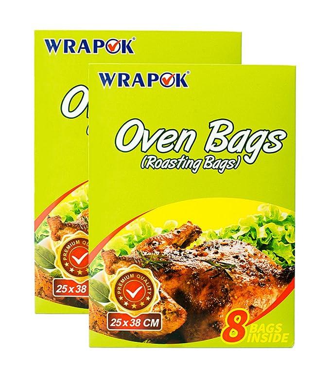 WRAPOK Bolsas para horno de cocina para la carne de pollo de Turquía Carne de aves de corral Pescado Vegetal de mariscos - 16 bolsas (10 x 15 ...