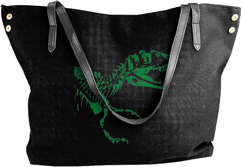Womens Canvas Handbags,T-Rex Skeleton Stylish Shoppingbags For Women