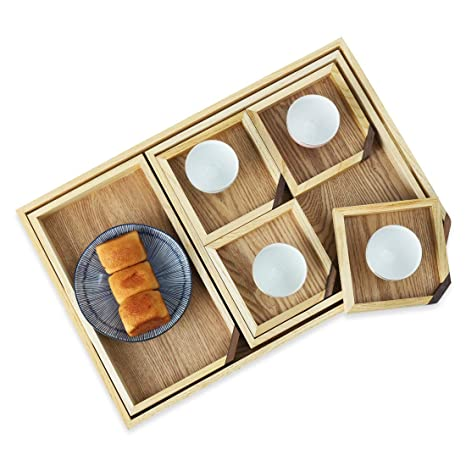 Astounding Large Nesting Serving Tray With Cutout Handles Wooden 18 X 12 Inch Decorative Trays With Coasters For Breakfast Ottoman Coffee Table Food Desk Beatyapartments Chair Design Images Beatyapartmentscom