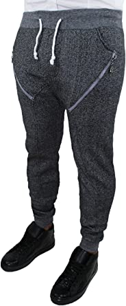 North Star Pantalón chándal Hombre Franela Gris Negro algodón ...