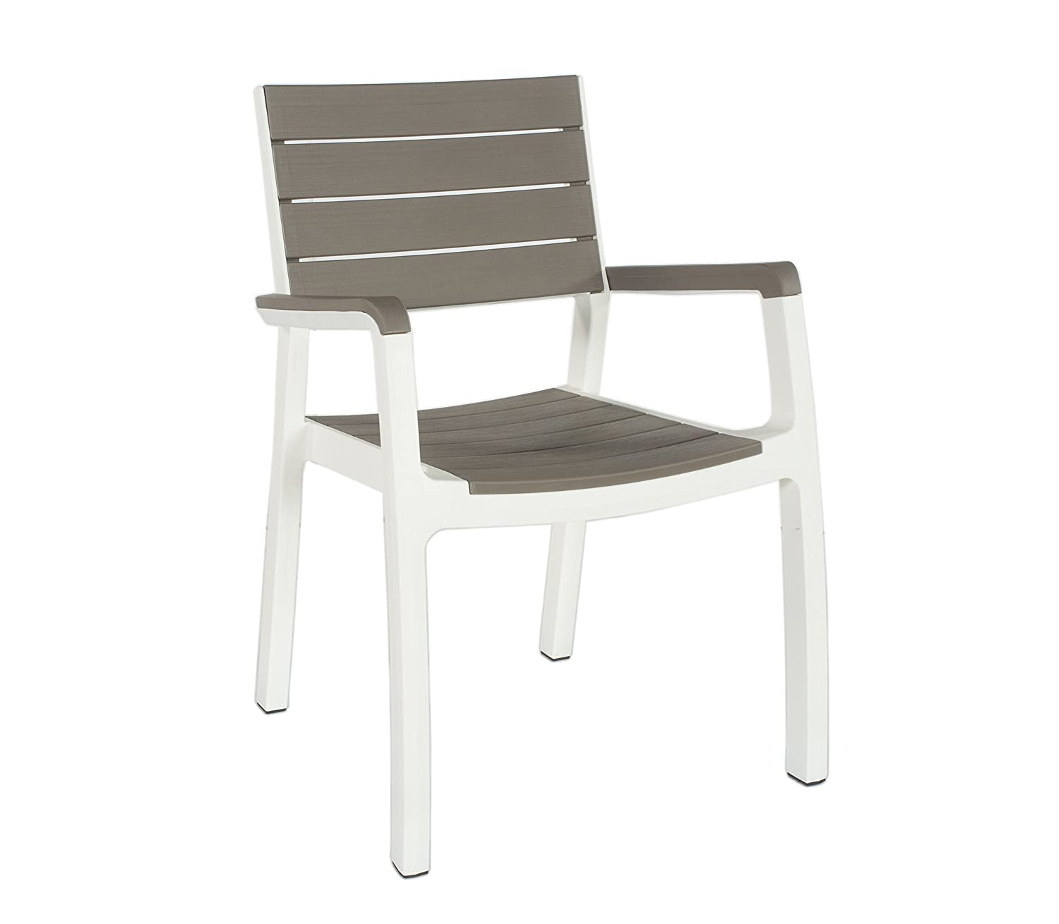 Stackable outdoor chairs lightweight peppermill interiors - Amazon Com Keter Harmony Indoor Outdoor Stackable Patio Furniture Armchair Set Modern Wood Style Finish Pack Of 2 Chairs Garden Outdoor