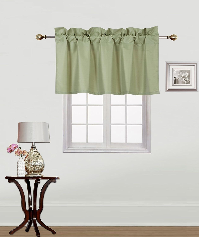 GorgeousHomeLinen (RS9) 1 Small Short Decorative Rod Pocket Foam Lined Blackout Swag Window Curtain Straight Valance for Kitchen, Living Room, Bedroom, Nursery, Basement & Bathroom (Sage Green)
