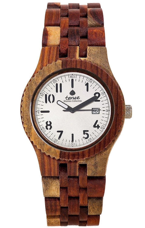 Gespannter Holz l7305rd-w Herren Armbanduhr Braun Holz Band weiß Zifferblatt
