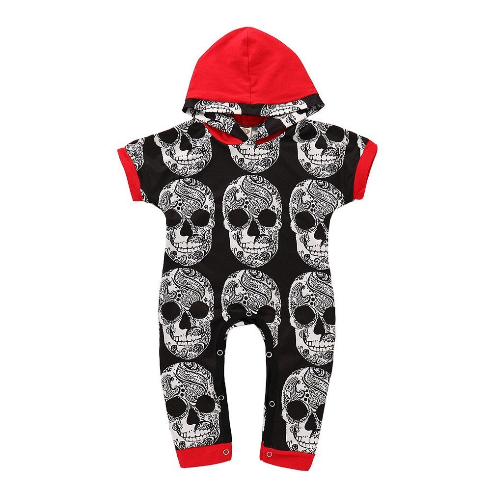 2018 Vovotrade Newborn Unisex Fashion Devil Bone Print Hooded Romper Toddler Boys Girls Short Sleeve Hoodie Jumpsuit Casual Outfits 0-6Months 6-12Months 12-18Months 18-24Months