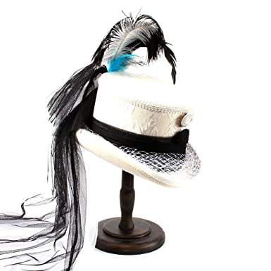 Amazon.com  SRY-Caps Victorian Gothic Corset Black and Ivory Lace Wedding  Hat Holiday Hat With Feather Black Yarn For Women  Clothing 4c02577e789e