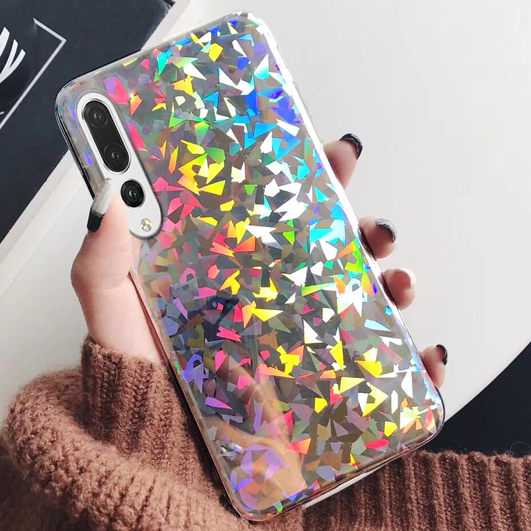 Huawei P20 Pro Case, Huawei P20 Pro Case for Girls,ikasus Slim Luxury Glitter Sparkle Bling Cute Case with Rave Holographic Laser Gorgeous Glossy Flexible Soft Rubber TPU Cover Case for Huawei P20 Pro,Diamond