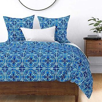 Amazon.com: Roostery Spanish Tile Duvet Cover Sevilla Tiles ...