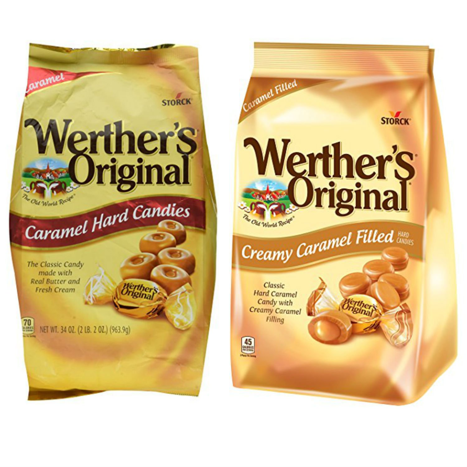 Werthers Bulk Hard Candy Combo with Werthers Original Caramel Candy and Creamy Filled Candy. Easy Shopping For 2 Popular Candy Alternatives. THE Choice for Office, Home or Dorm. Vegetarian Friendly! by Bundle