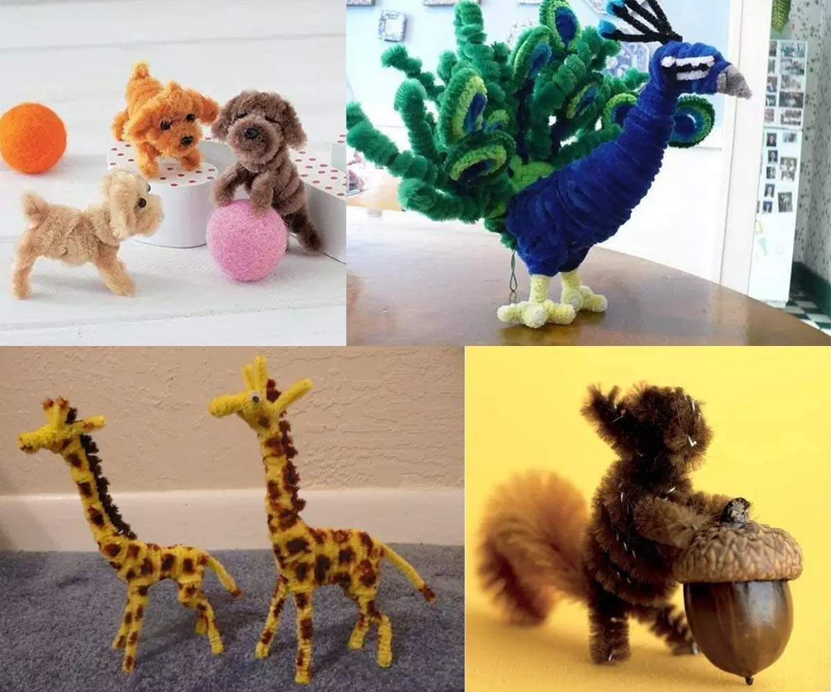 Happyyami 100pcs Pipe Cleaners Chenille Stems DIY Pipe Cleaners Art Craft Decorations Twisted Tie for Christmas Party