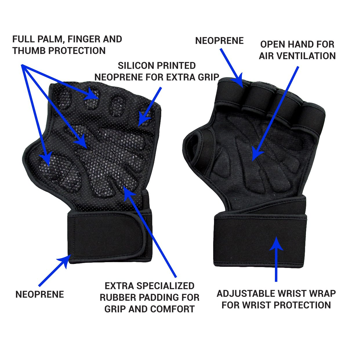 Motorcycle gloves palm protection - Amazon Com New Ventilated Weight Lifting Gloves With Built In Wrist Wraps Full Palm Protection Extra Grip Great For Pull Ups Cross Training Fitness