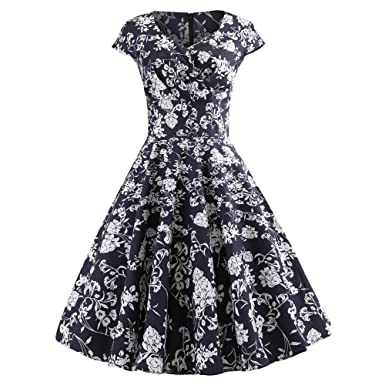 Women Dress Godathe Fashion Women Vintage Ruched V Neck Evening Printing Party Prom Swing Dress S