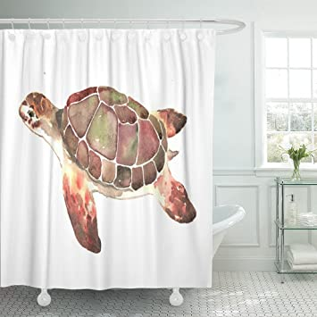 Emvency Rideau De Douche Curtainsgreen Animal Realiste Tortue De Mer