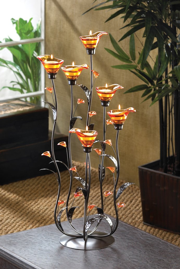 Gifts & Decor Amber Calla Lily Flower Bunch Tealight Candle Holder by Gifts & Decor