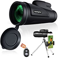 Tatufy 12x50 HD Dual Focus Low Night Vision Waterproof Monocular Telescope with Cell Phone Photography Adapter