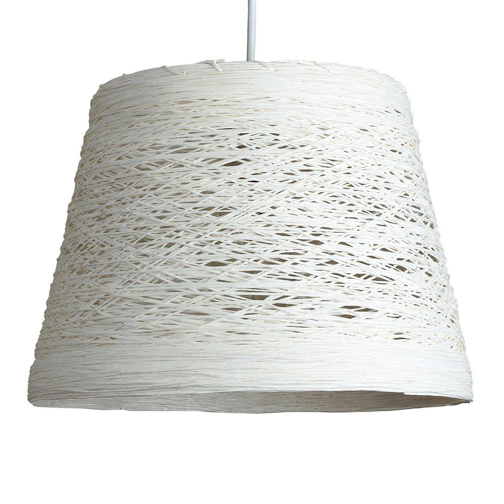 MiniSun Abat Jour Moderne pour Suspension. Osier Tressé Blanc. Adapte pour Douille de 42 mm avec bague de réduction pour douille de 28 mm