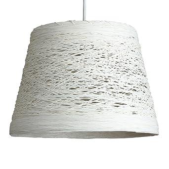 MiniSun Abat Jour Moderne pour Suspension. Osier Tressé Blanc ...