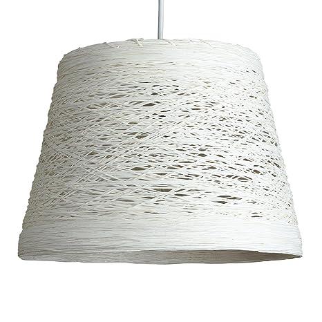 MiniSun – Pantalla para lámpara de techo Jaap - de mimbre enrejado blanco