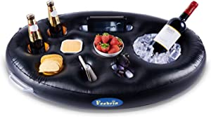 FEEBRIA Inflatable Floating Drink Holder with 9 Holes Large Capacity & Transparent Material,Drink Float for Pool Party Beach (Black)