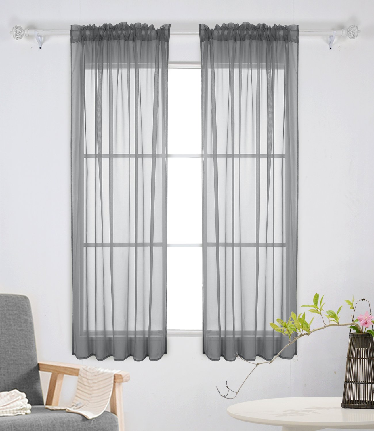 Deconovo Home Decorative Sheer Curtains Window Curtains Sheer Panels Voile Curtains for Dining Room