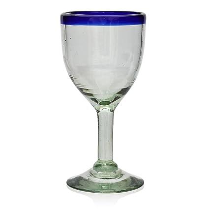 Vaso de Vino Artesanal - Tamaño medio – Vidrio Reciclado – Borde azul - Un Solo