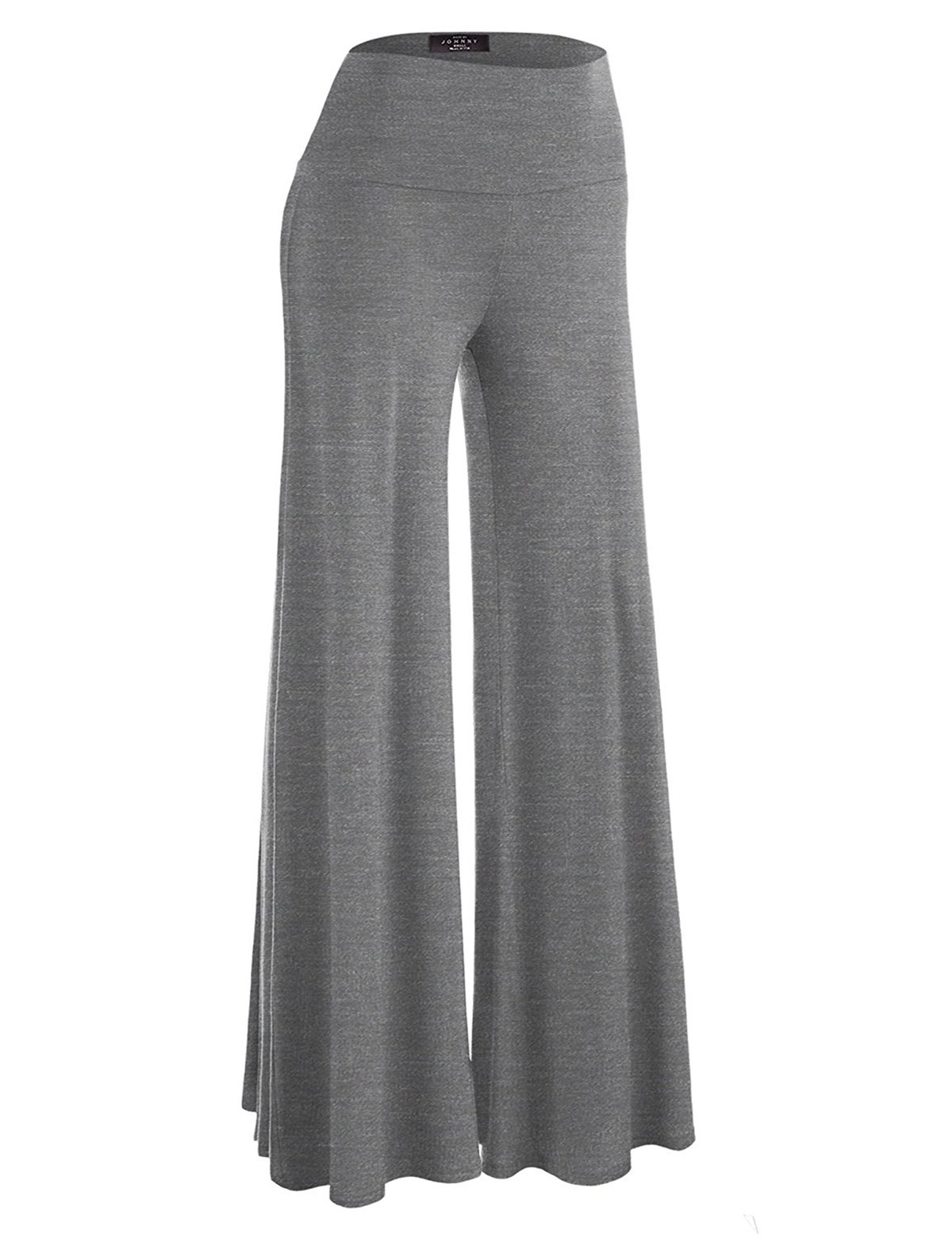 OMONSIM Women Classic Soft Chic Wide Leg Palazzo Pants (XX-Large, Grey)