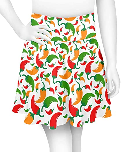 5a3b2819add3 Colored Peppers Skater Skirt (Personalized) at Amazon Women's ...