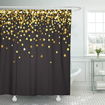 emvency shower curtain border abstract pattern of random falling gold stars on black for christmas and