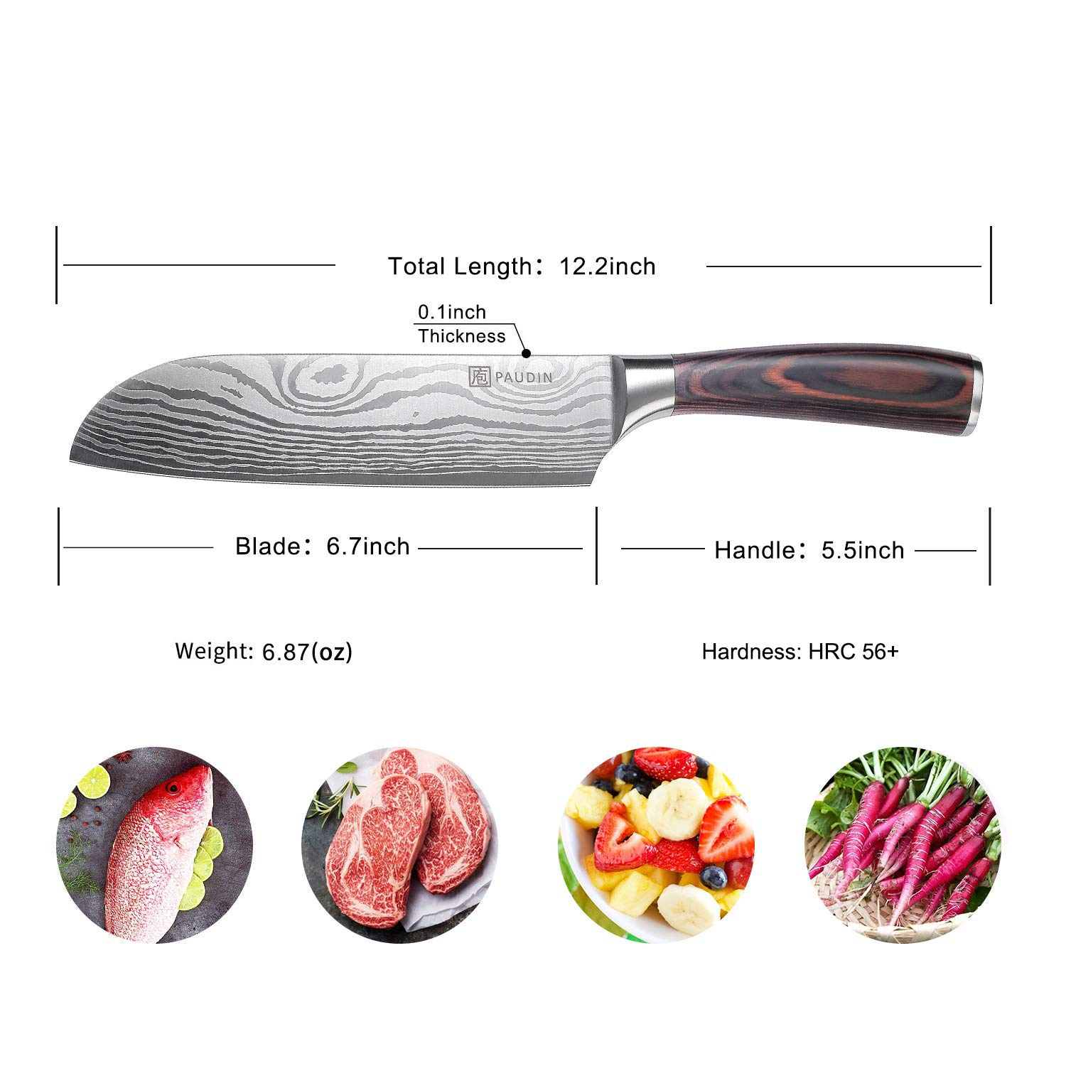 Santoku Knife - PAUDIN Classic 7 inch Hollow Ground Sharp Knife, German High Carbon Stainless Steel Kitchen Knife by PAUDIN (Image #7)