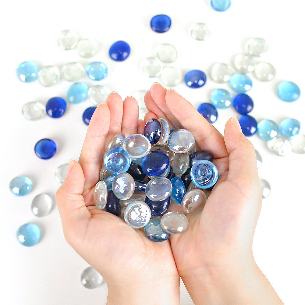 FuturePlusX 100PCS Flat Glass Marbles, Premium Blue Mixed Color Flat Gems Pebbles for Vase Filler Table Scatter Aquarium Decor