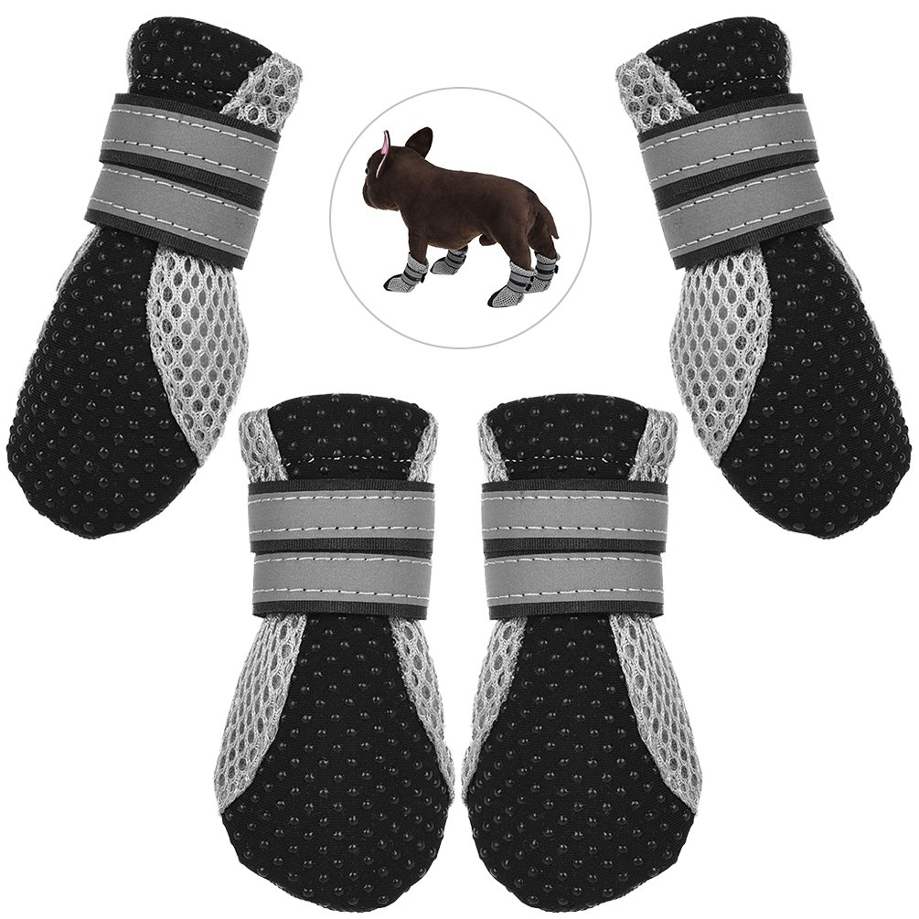 Petacc Dog Boots Breathable Dog Outdoor Shoes Anti-slip Pet Paw Protector with Reflective Stripes, Black, L