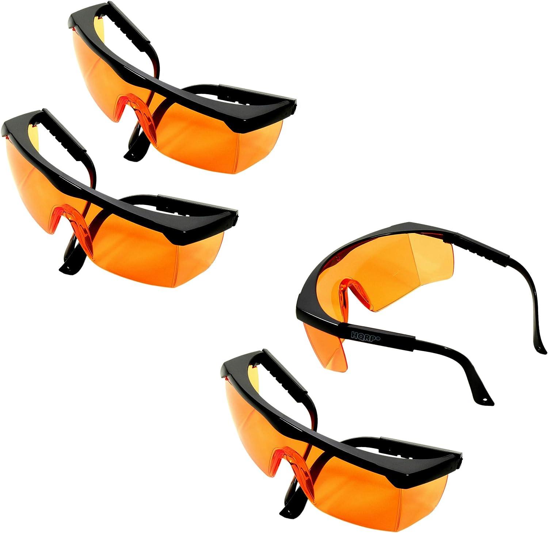 HQRP 4 Gafas de protección UV color naranja para protección contra la luz ultravioleta, partículas voladoras / líquidos, Aserrín, escombros, polvo, aceite, productos químicos más UV Medidor del sol