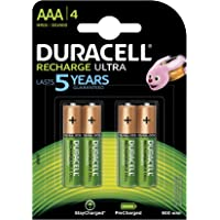 Duracell Recharge Ultra Pack de 4 Piles Rechargeables type AAA 900mAh