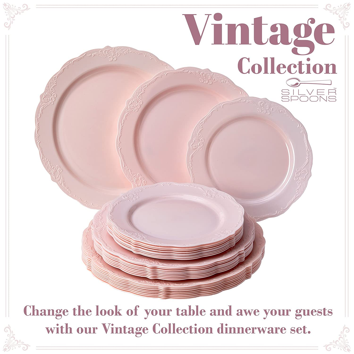 40 Dinner Plates Blush Vintage Collection Dinnerware Set Party Disposable 120 PC Elegant Plastic Dishes Upscale China Look 40 Dessert Plates for Fine Dining 40 Salad Plates