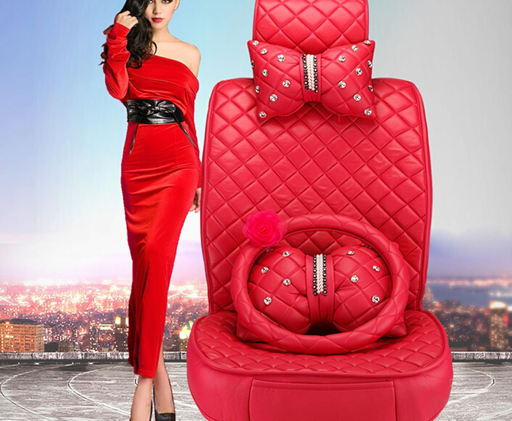 18pc superior quality luxury red Seat Covers imitation leather Seating Universal Full Set car seat cover Easy to install Fit Most Car by Maimai88 (Image #3)