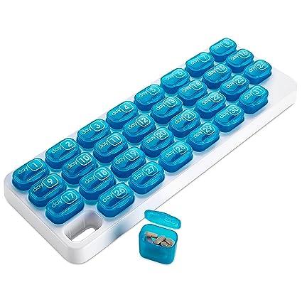 Organizador mensual de pastillas MEDca. Espacio para 31 cápsulas.