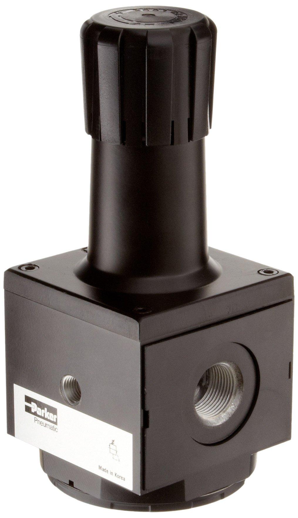 Parker P3NRA98BNN Regulator, Relieving Type, 2-125 psi Pressure Range, No Gauge, 300 scfm, 1'' NPT by Parker