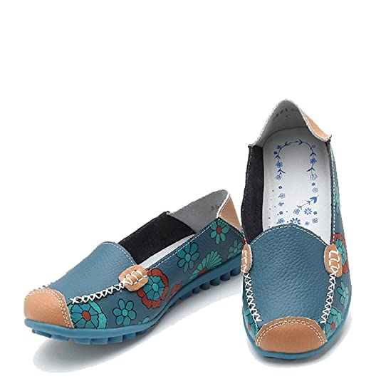 Amazon.com | Maybest Women Bright Color Casual Flower Printed Slip On Leather Flat Pumps Moccasins Dancing Shoes | Pumps