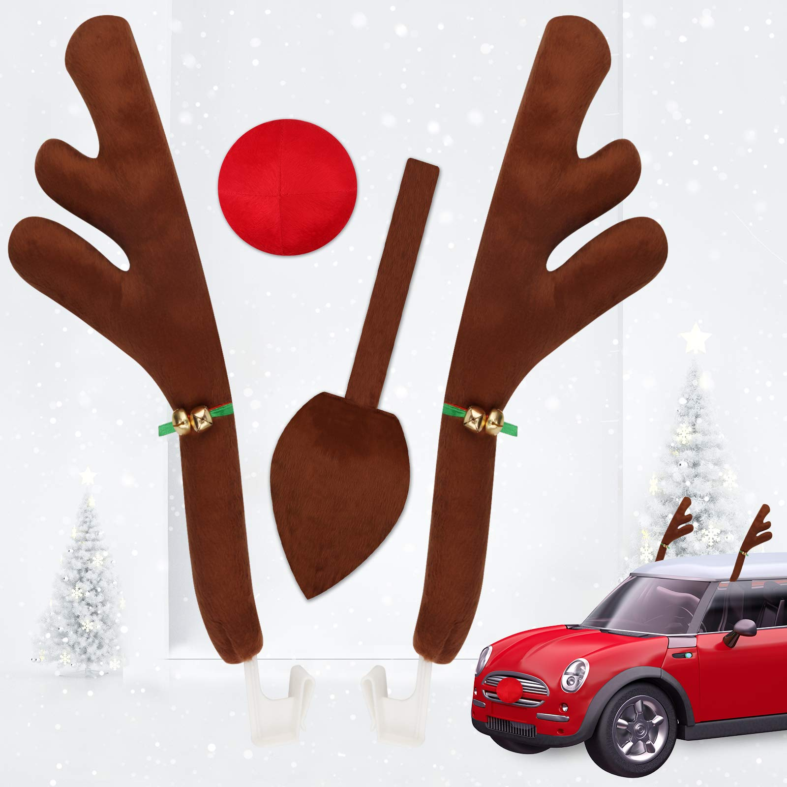 Qhui Car Christmas Decorations, Reindeer Antlers for Car, 5PCS Auto Antlers and Nose with Tail and Jingle Bells Reindeer Sticker for Vehicle Christmas Decorations