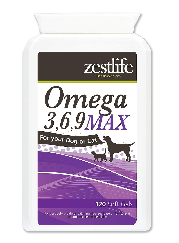 MAX Zestlife Omega 3,6,9 para geles suaves 120 perros y gatos ...