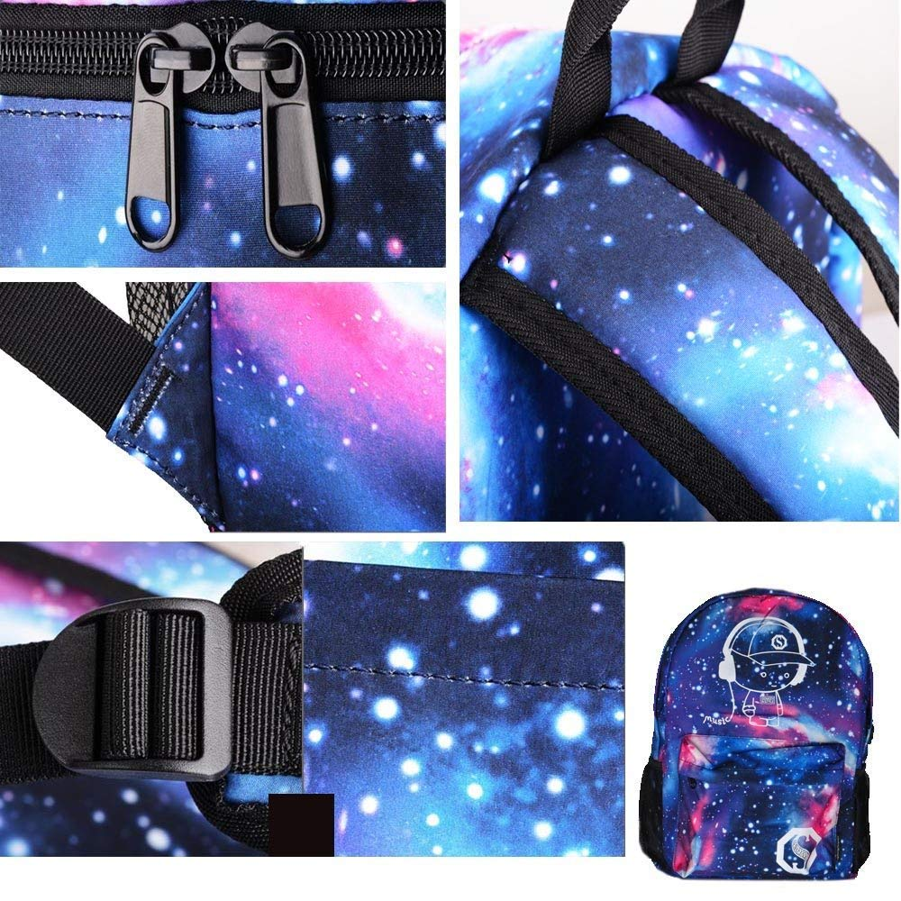 Luminous Backpack with USB Charging Port and Anti-Theft Lock & Pencil Case, Sky Anime Cartoon Unisex Casual School Daypack Bookbag Travel Laptop Backpack by ZWWZ (Image #3)