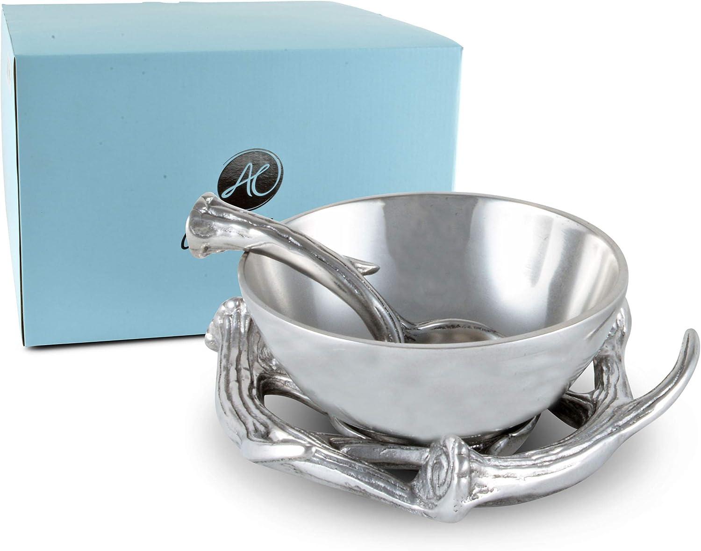 Arthur Court Designs Aluminum 2-pieces Antler Condiment Server Bowl 5.25