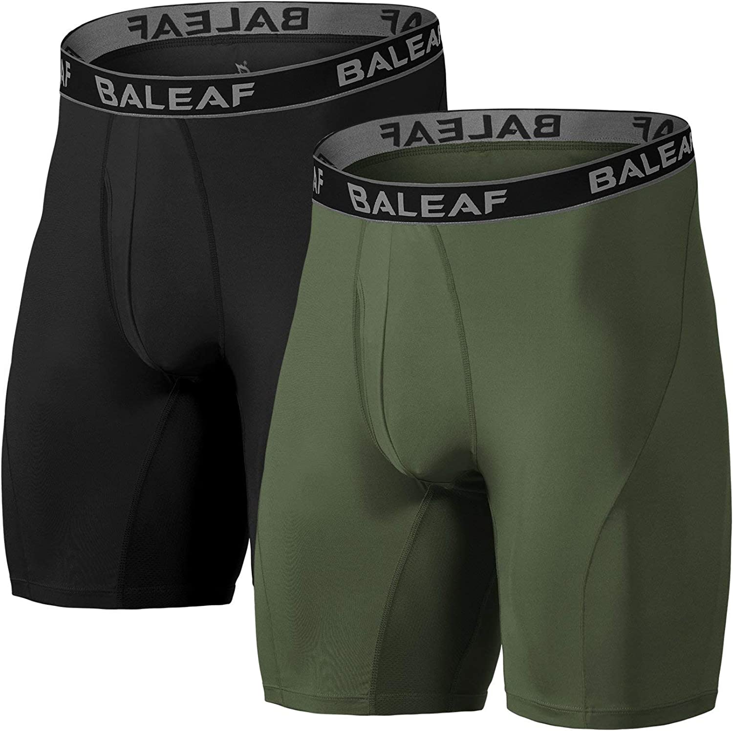 BALEAF 9'' Men's Active Underwear Sport Cool Dry Performance Boxer Briefs  with Fly (2-Pack) at Amazon Men's Clothing store