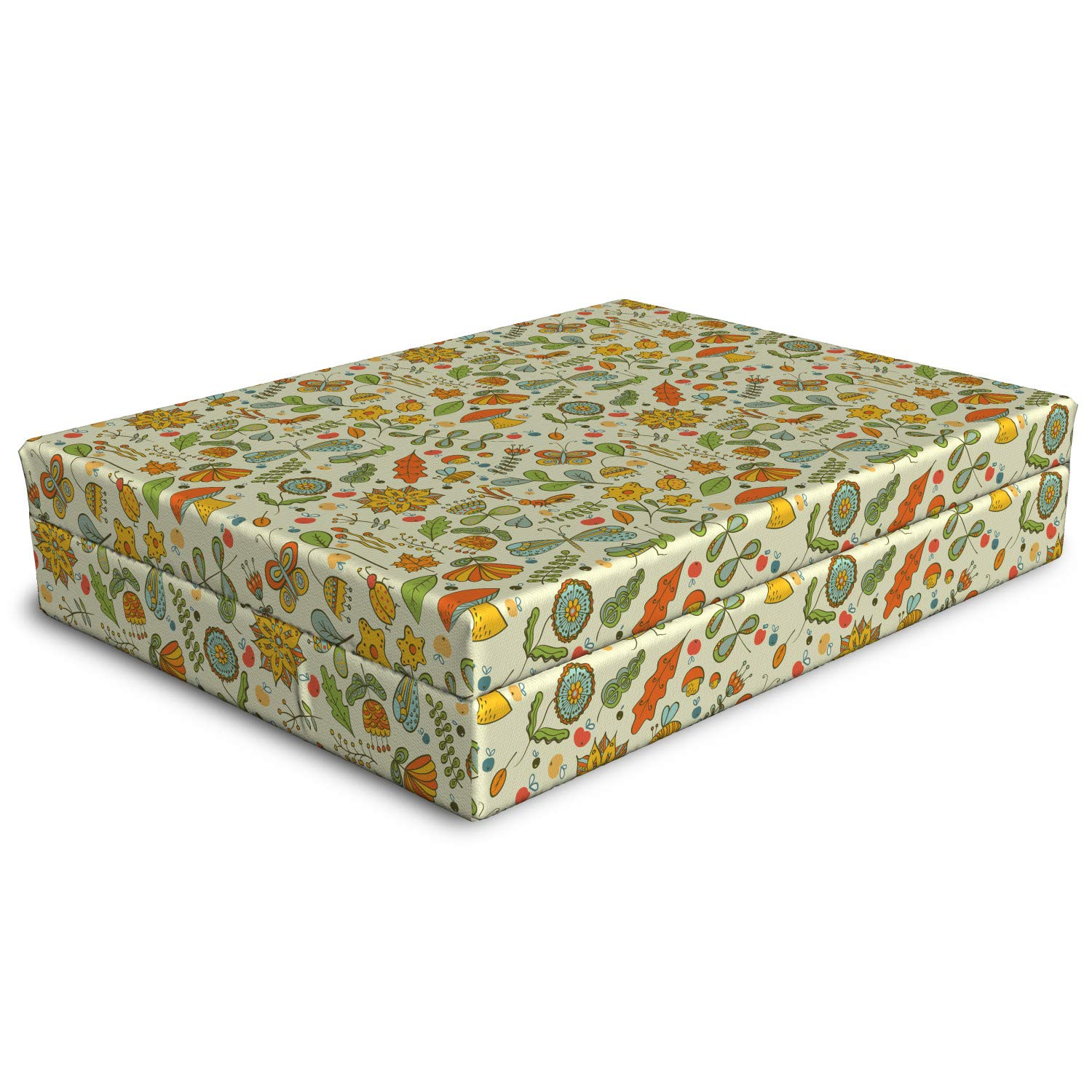 Lunarable Autumn Dog Bed, Pattern of Oriental Flowers Animals Mushrooms Leaves Insects Nature in Fall Colors, Dog Pillow with High Resilience Visco Foam for Pets, 32'' x 24'' x 6'', Multicolor