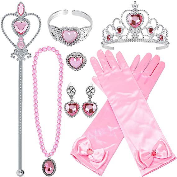 Guantes de princesa set de 9 Piezas - Guantes para disfraz de princesa.