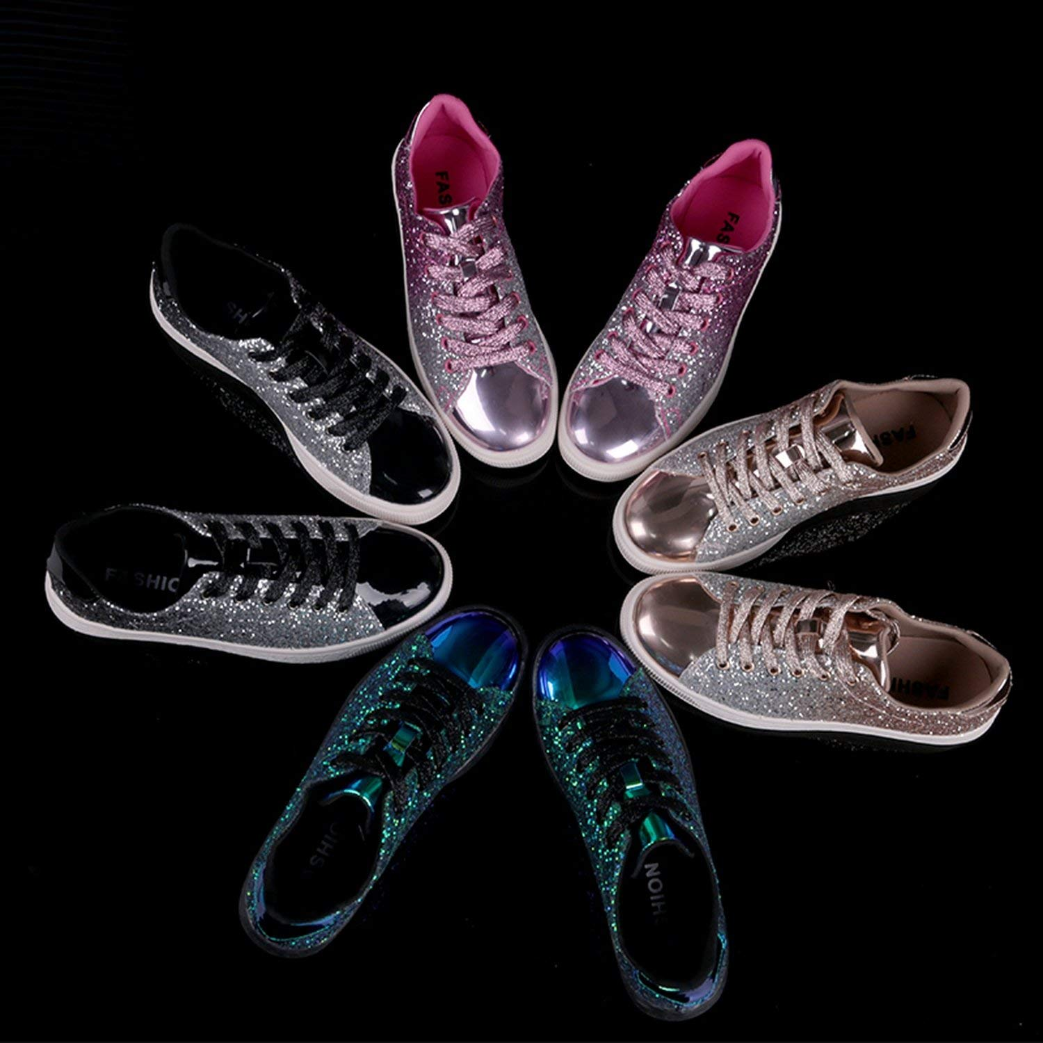 Womens Fashion Casual Rock Glitter Spakling Sneakers Womens Encrusted Lace Up Shoes White Sole Fashion Street Sneakers Shiny