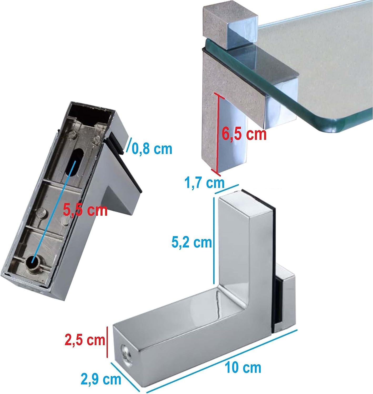 Verschiedene Varianten Stabile Regaltr/äger f/ür Glas- und Holzb/öden 2 St/ück Euro Tische Regal-Halter Glasbodentr/äger