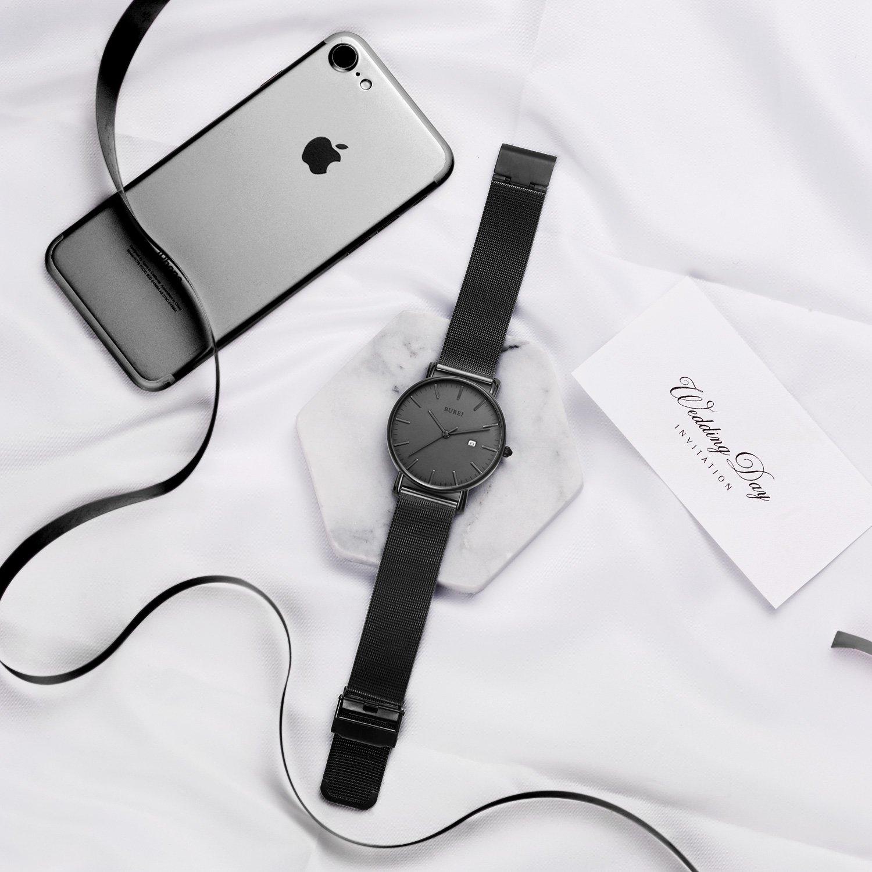 BUREI Men's Fashion Minimalist Wrist Watch Analog Deep Gray Date with Black Mesh Band by BUREI (Image #8)