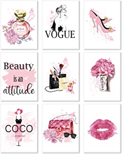 9PCS Watercolor Fashion Women Wall Art Girls Bedroom Wall Decor Pink Flower Perfume Modern Art Prints Fashion Posters Living Room Women Office Decorations Red Lip Makeup Brush High Heels Paintings (8X10inch Unframed)