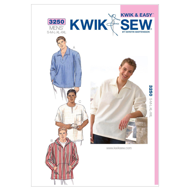 Kwik Sew K3250 Shirts Sewing Pattern, Size S-M-L-XL-XXL